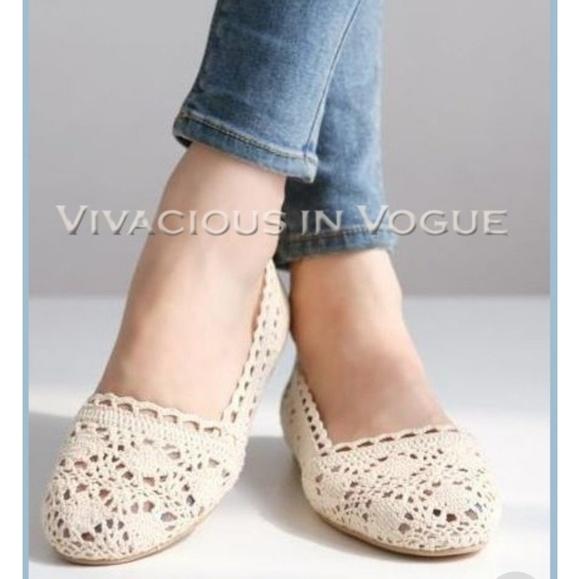 Bongo Shoes Ivory Crochet Ballet Flats Poshmark